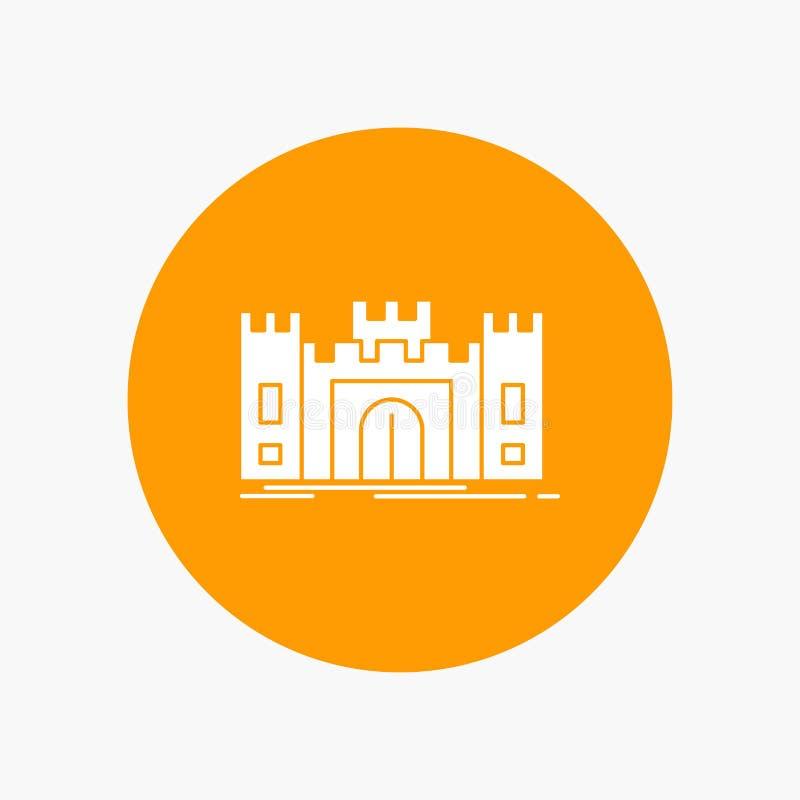 城堡,防御,堡垒,堡垒,在圈子的地标白色纵的沟纹象 r 库存例证