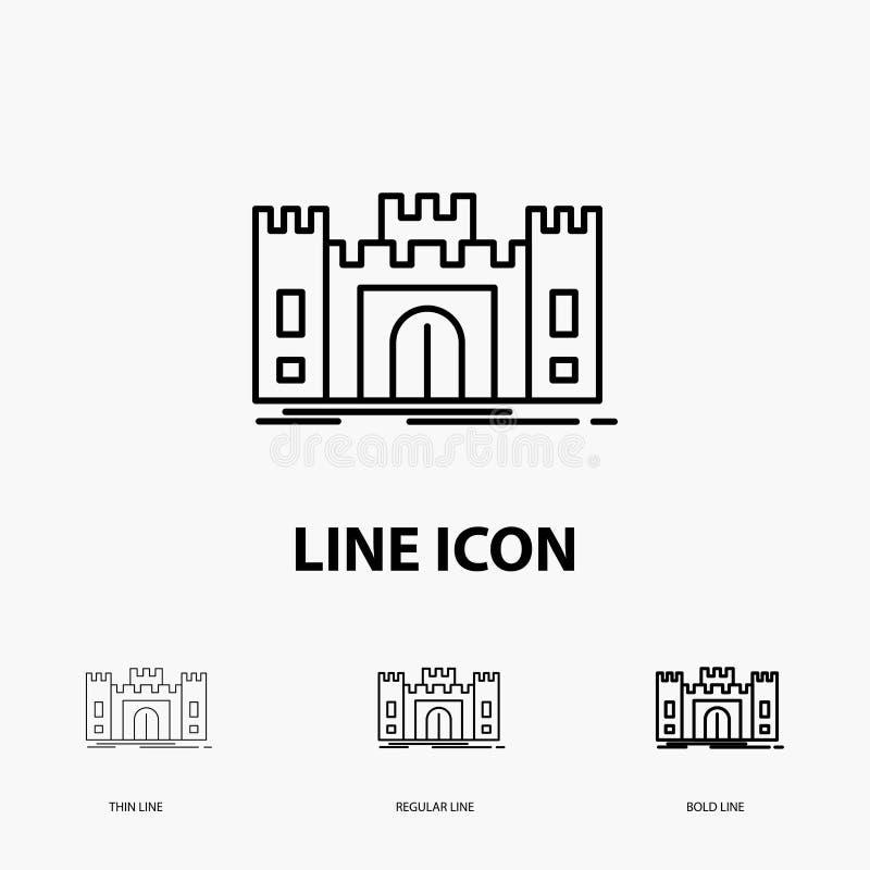 城堡,防御,堡垒,堡垒,在稀薄,规则和大胆的线型的地标象 r 向量例证