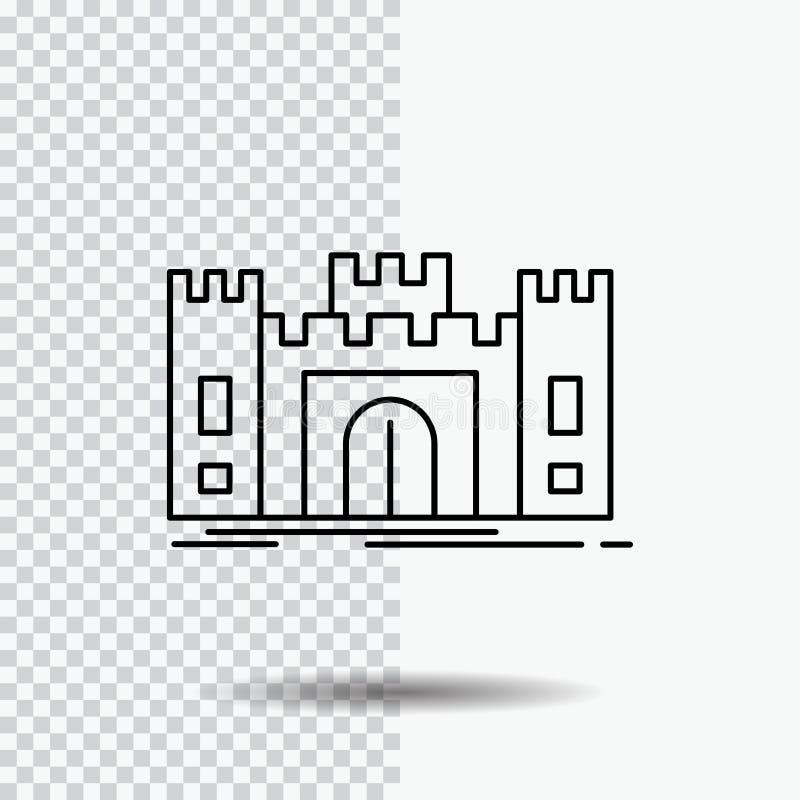 城堡,防御,堡垒,堡垒,在透明背景的地标线象 r 向量例证