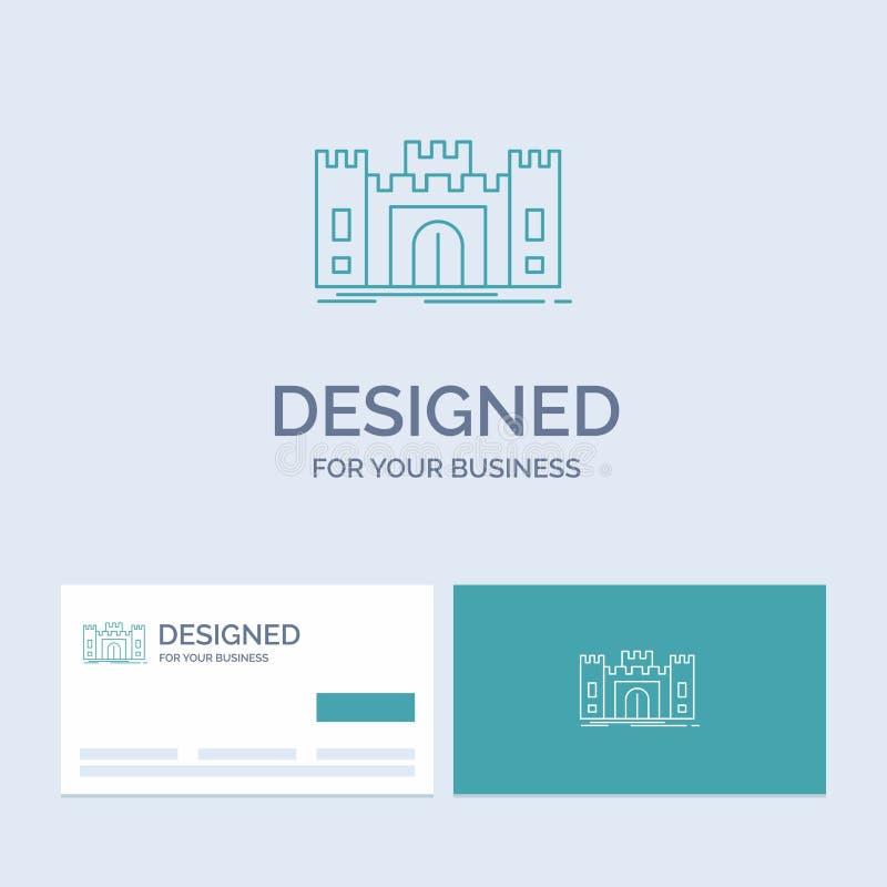 城堡,防御,堡垒,堡垒,地标企业商标线您的事务的象标志 r 皇族释放例证