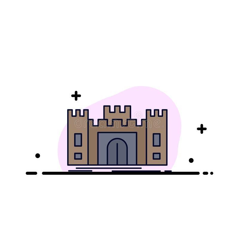 城堡,防御,堡垒,堡垒,地标平的颜色象传染媒介 向量例证