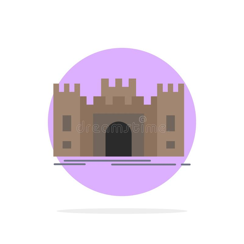 城堡,防御,堡垒,堡垒,地标平的颜色象传染媒介 皇族释放例证