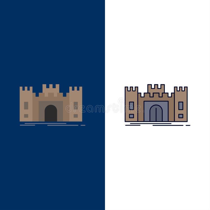 城堡,防御,堡垒,堡垒,地标平的颜色象传染媒介 库存例证