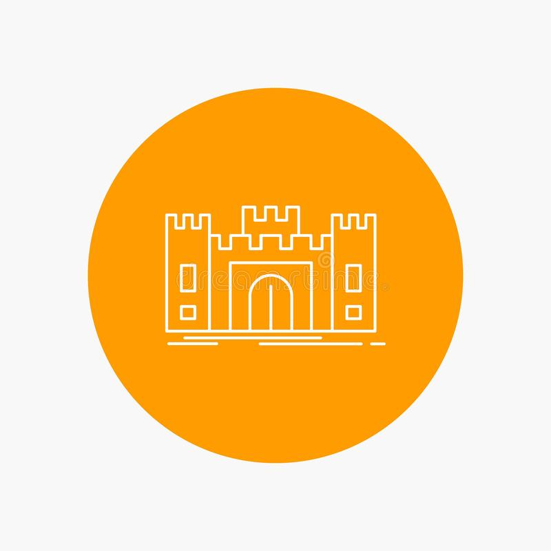 城堡,防御,堡垒,堡垒,地标空白线路象在圈子背景中 r 皇族释放例证