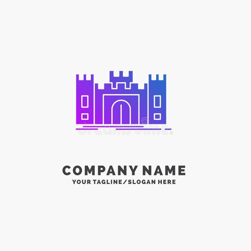 城堡,防御,堡垒,堡垒,地标紫色企业商标模板 r 向量例证