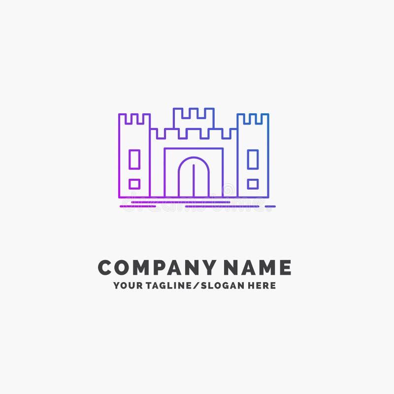 城堡,防御,堡垒,堡垒,地标紫色企业商标模板 r 库存例证