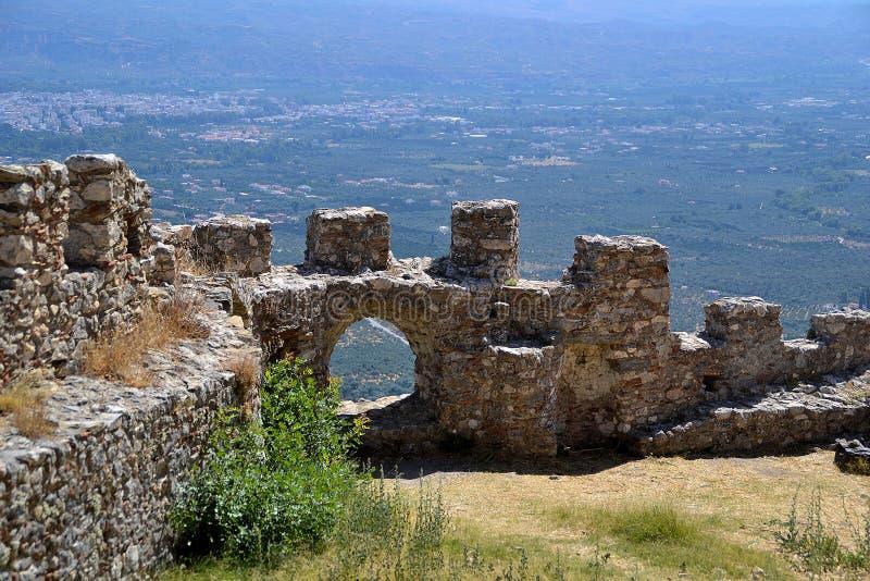 城堡, Mystras 库存图片