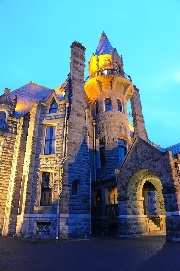 城堡BC晚上场面维多利亚 库存照片