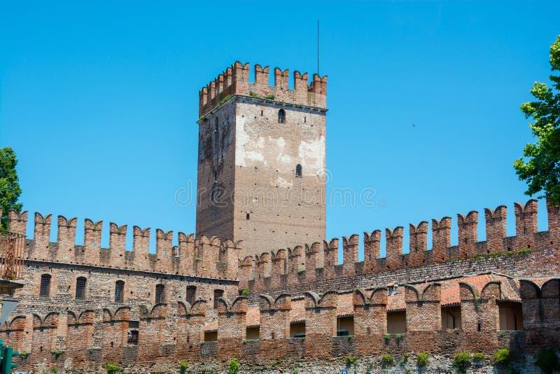 城堡Castelvecchio的城垛是一座城堡在维罗纳,意大利北部 免版税库存图片