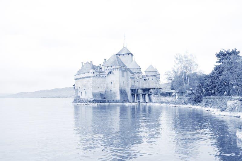 城堡chillon日内瓦LAC leman瑞士 免版税库存照片