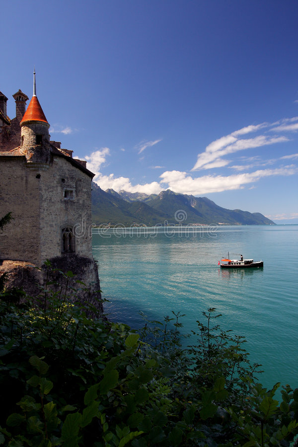 城堡chillon横向 库存照片