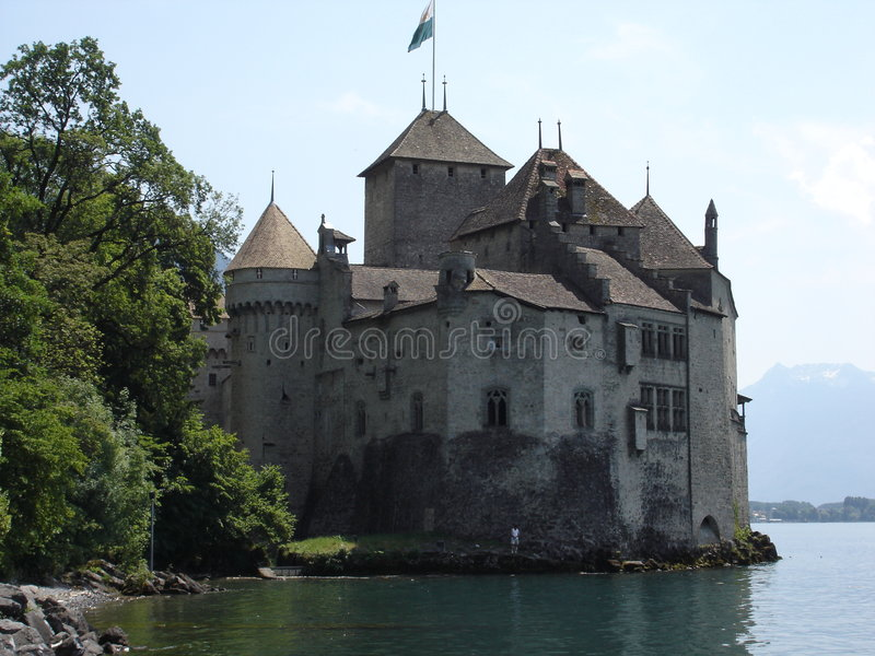 城堡chillon montreau瑞士 库存图片