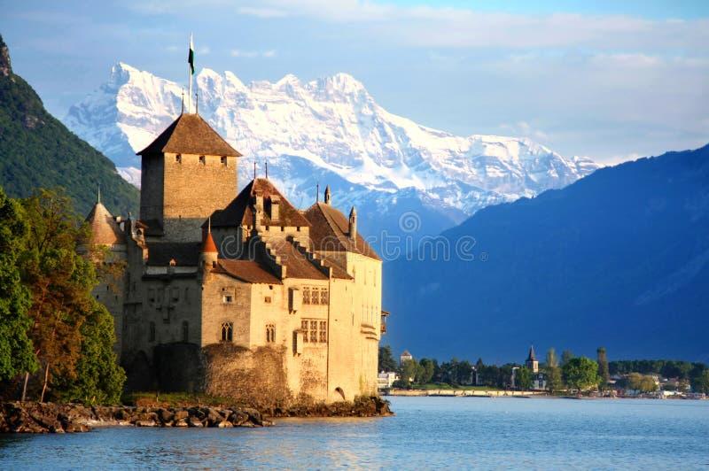 城堡chillon montreux瑞士 库存照片
