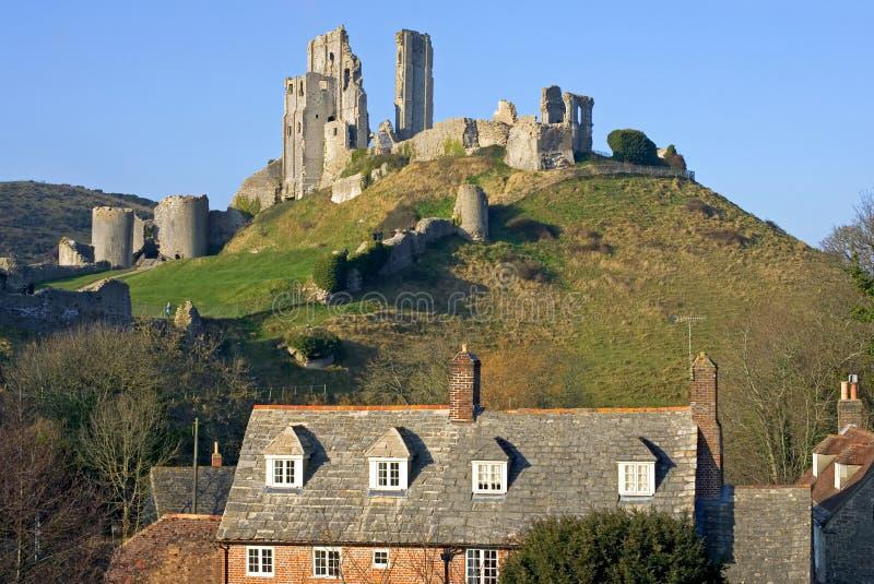 城堡corfe多西特英国南部的swanage 免版税库存照片