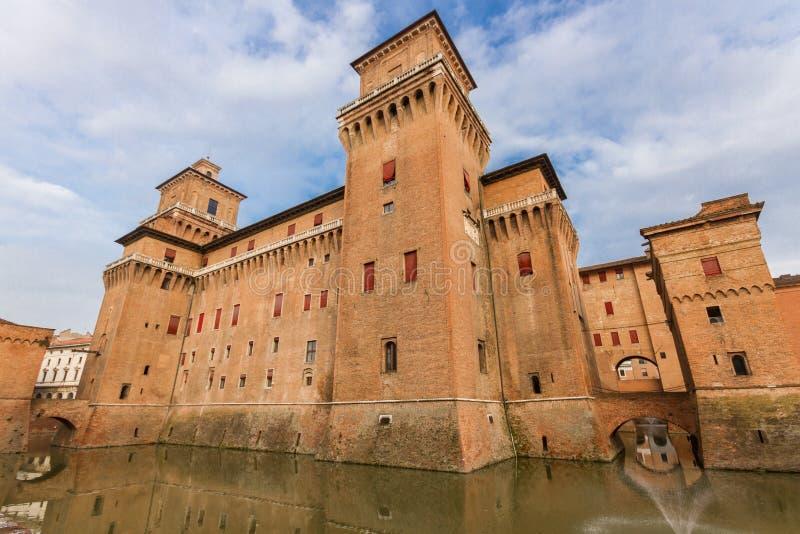 城堡Estense在费拉拉,意大利 免版税库存图片