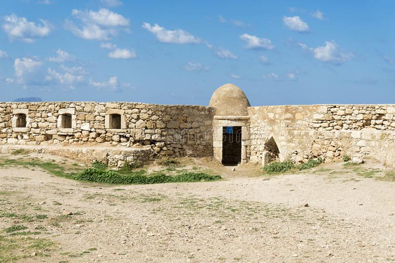 城堡Fortezza的本营在市罗希姆诺,克利特,希腊 免版税库存图片