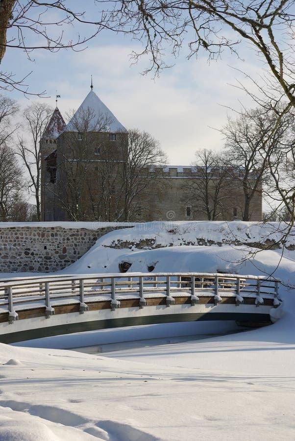 城堡kuressaare公园saaremaa 库存图片