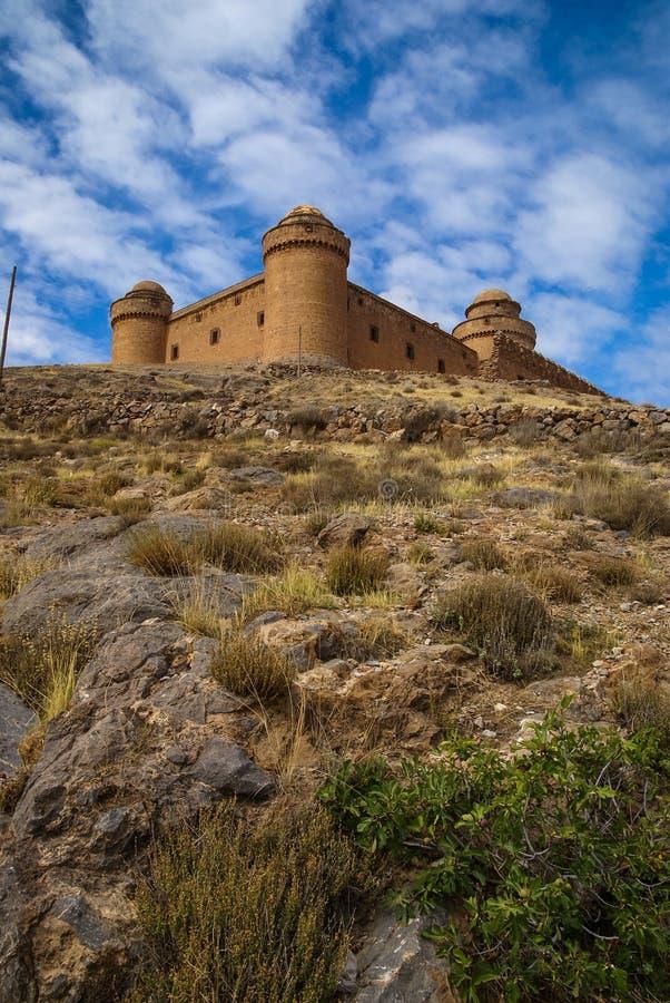 城堡Lacalaora,格拉纳达,安大路西亚,西班牙 免版税库存照片