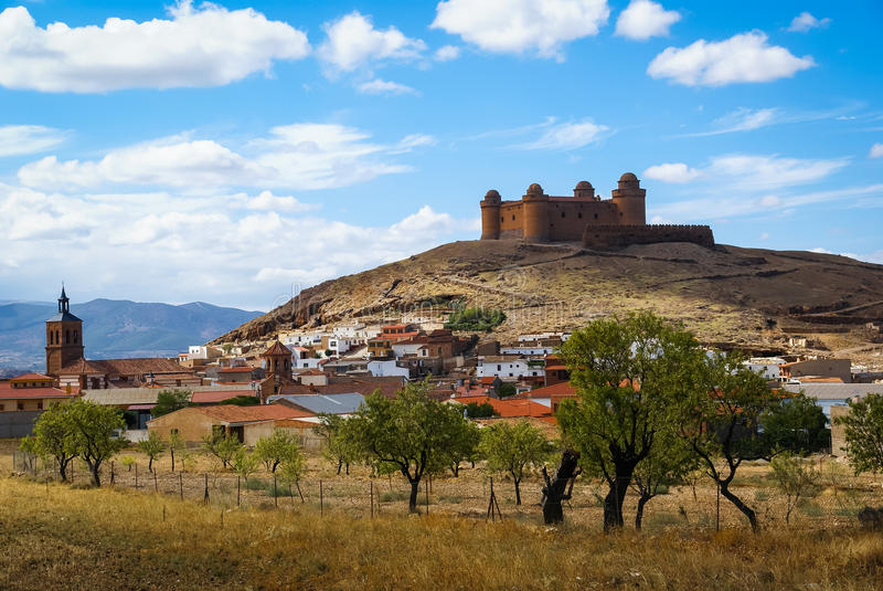 城堡Lacalaora,格拉纳达,安大路西亚,西班牙 图库摄影