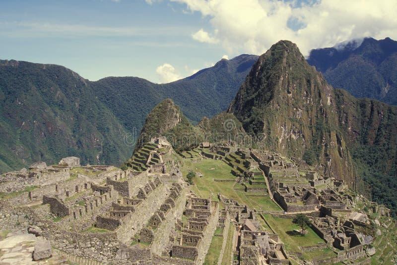 城堡machu秘鲁picchu视图 免版税库存照片