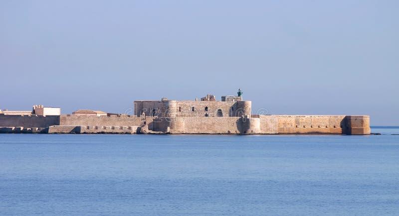 城堡maniace西西里岛siracusa 库存照片