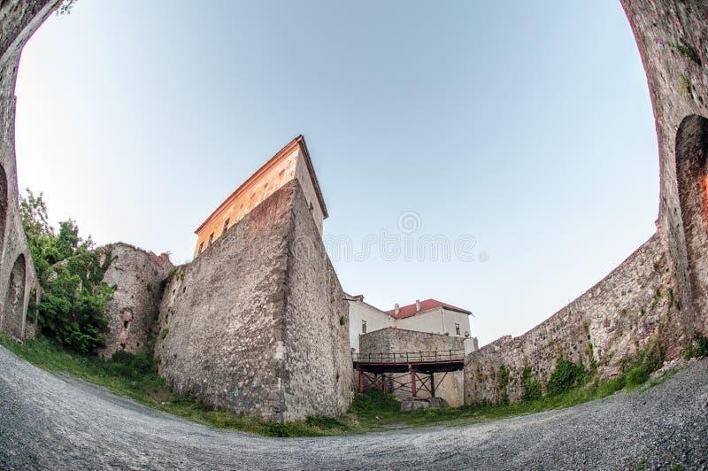 城堡mukachevo palanok乌克兰 免版税库存照片