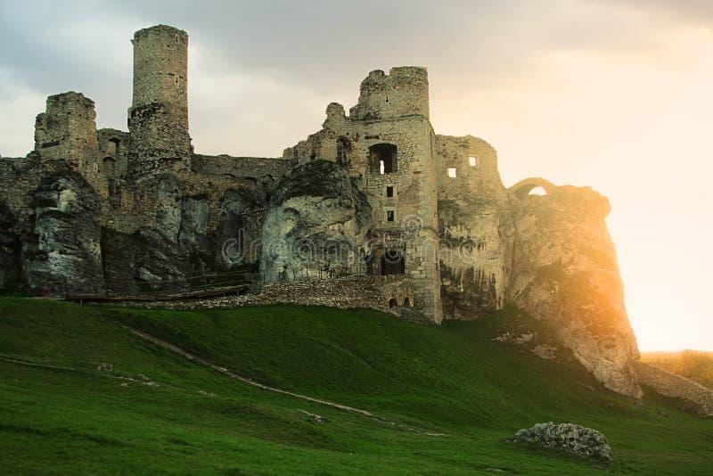 城堡ogrodzieniec波兰 免版税库存图片