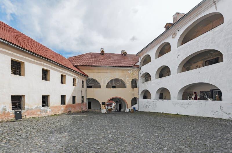 城堡Palanok,穆卡切沃,乌克兰的庭院 免版税库存图片