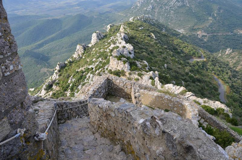 城堡Peyrepertuse在法国 免版税图库摄影