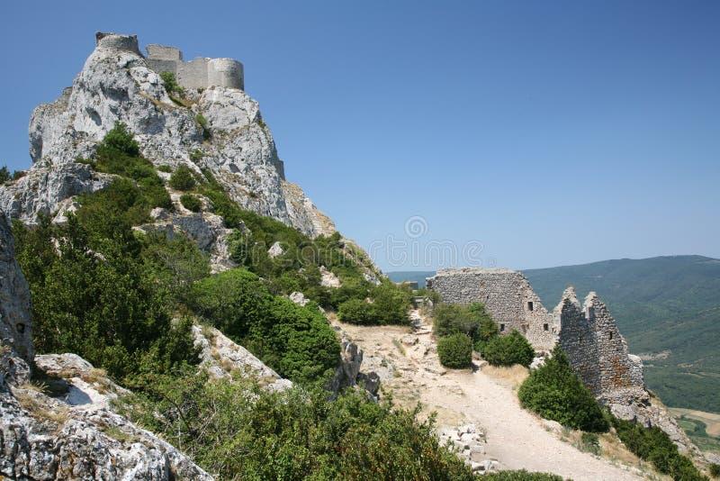城堡peyrepertuse 免版税库存图片