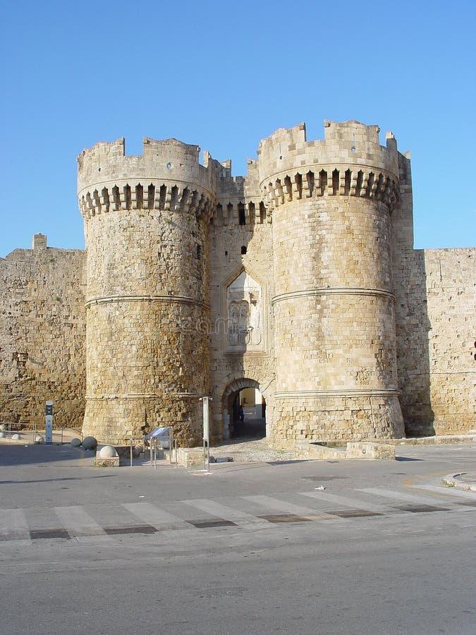 城堡rhodos 免版税库存图片