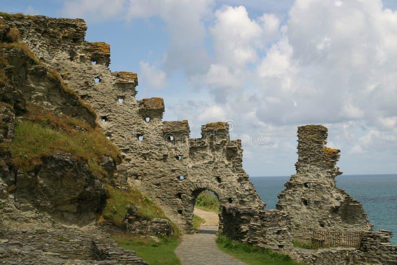 城堡tintagel 库存照片