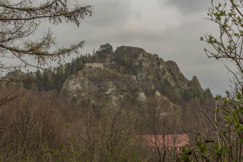 城堡Vrsatec废墟在春天黑暗的阴天 库存照片