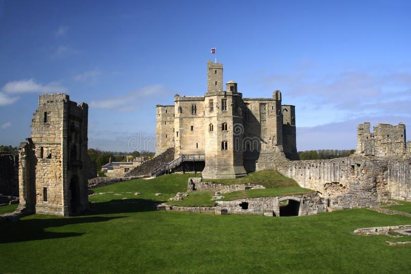 城堡warkworth 库存照片