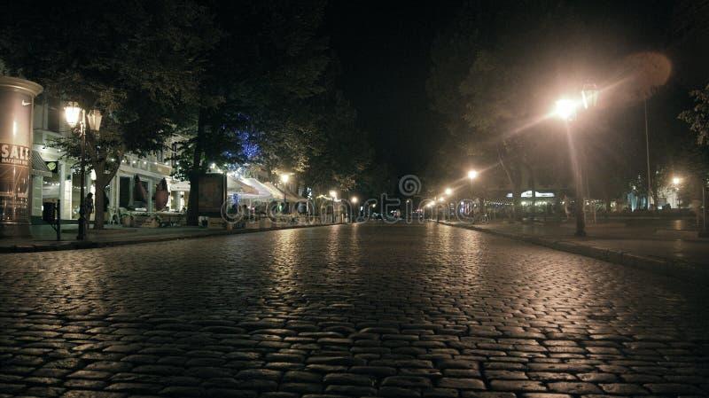 城市†‹傲德萨,夜步行†‹ 免版税库存照片