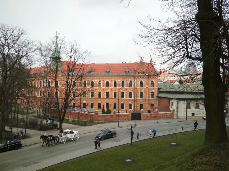 城市†‹克拉科夫†‹ 波兰古老街道、宽容大教堂和中世纪堡垒风景  库存图片