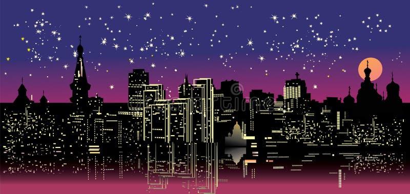 城市下夜空星形 皇族释放例证