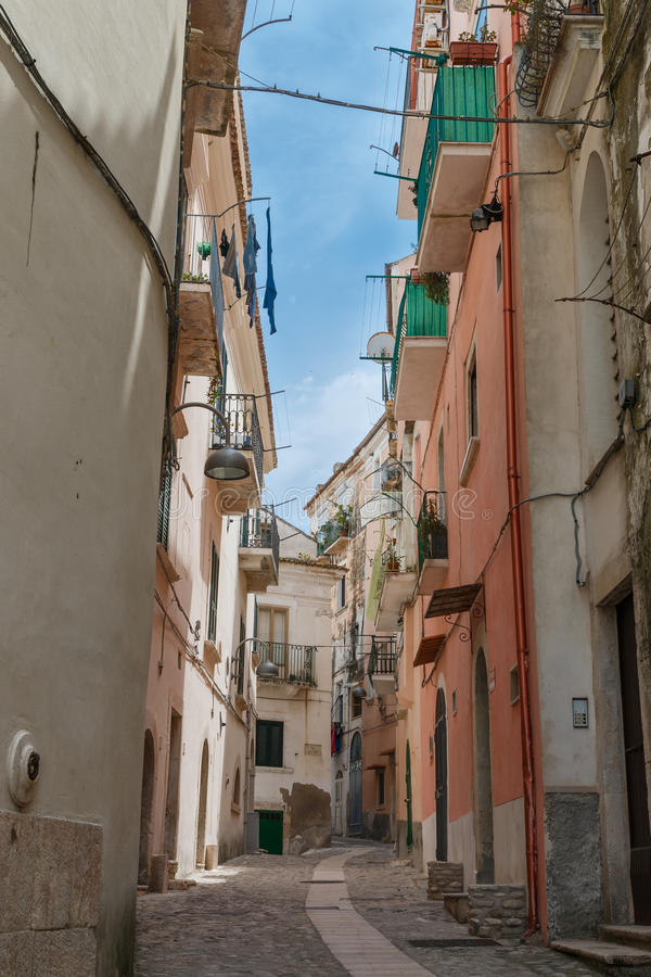 城市与各种各样的房子和细节的街道视图 免版税库存图片