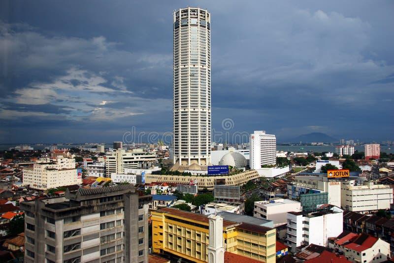 城市乔治城komtar马来西亚塔视图 免版税库存照片