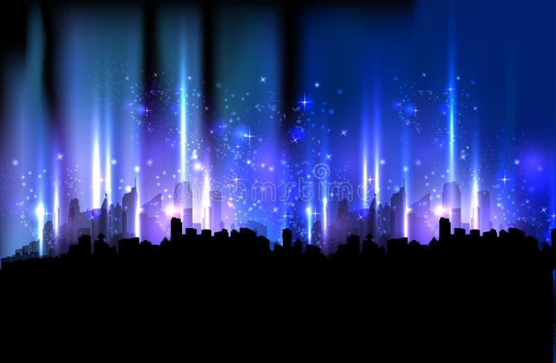 城市五颜六色的晚上 向量例证