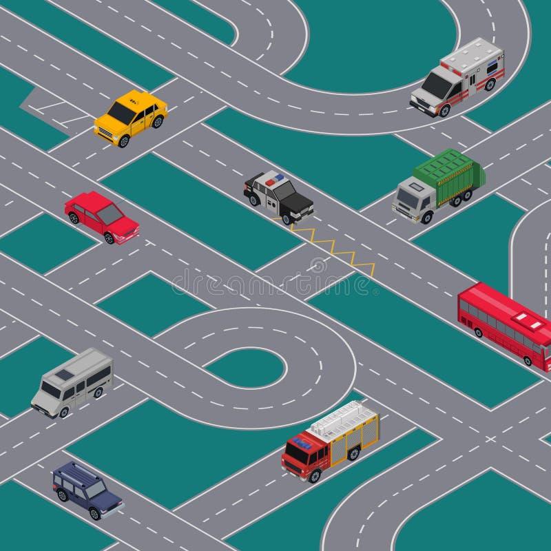 城市交通与高速公路路的连接点横幅 皇族释放例证