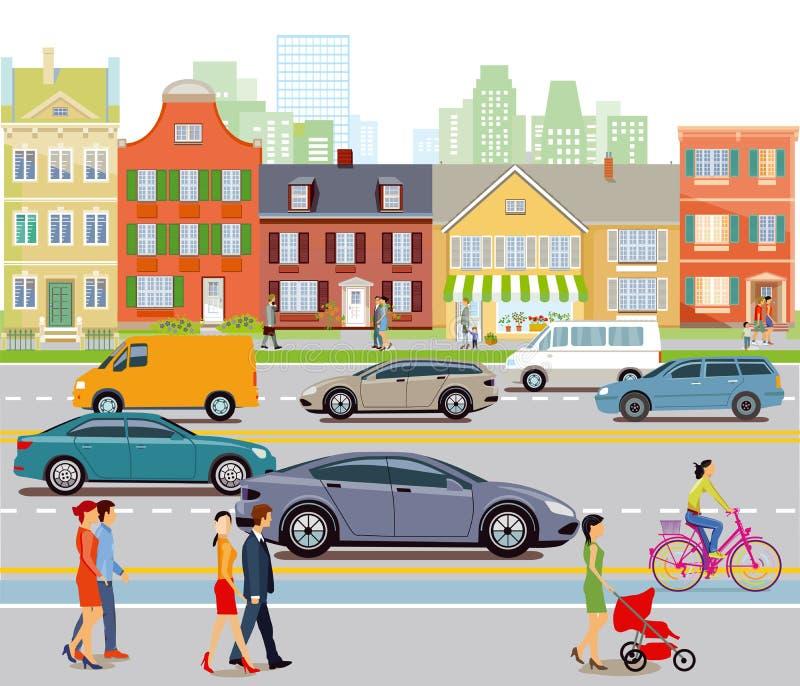 城市交通和步行者 向量例证
