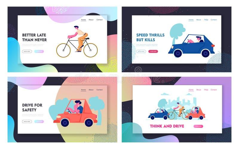 城市交通网站着陆页集合,驾驶运输的不同人们作为汽车和自行车在路,周期 皇族释放例证