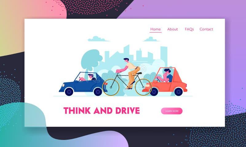 城市交通网站着陆页,驾驶另外运输的人们作为汽车和自行车在路、周期和汽车 皇族释放例证
