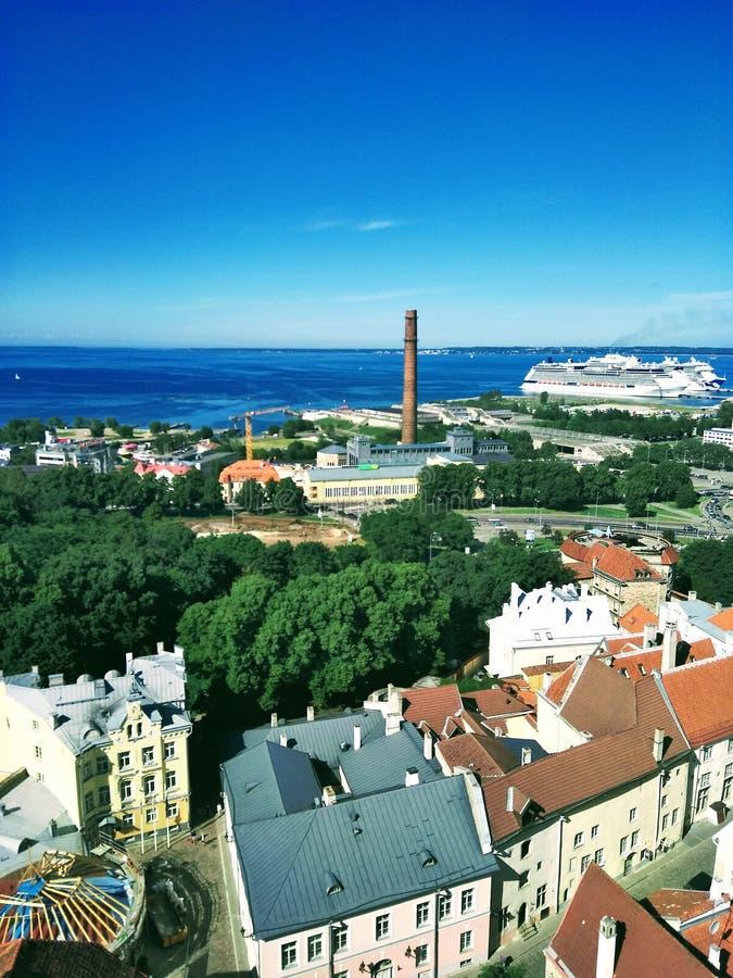 城市从上面和与云彩的蓝天的美丽的景色 免版税库存图片