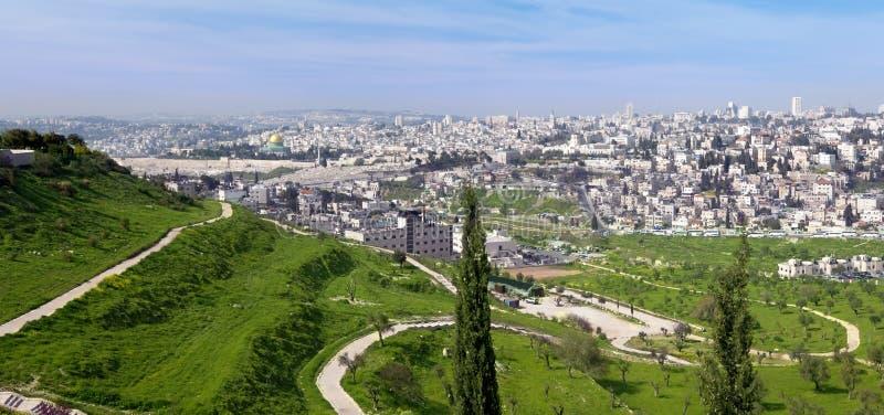 城市以色列耶路撒冷全景 免版税库存图片