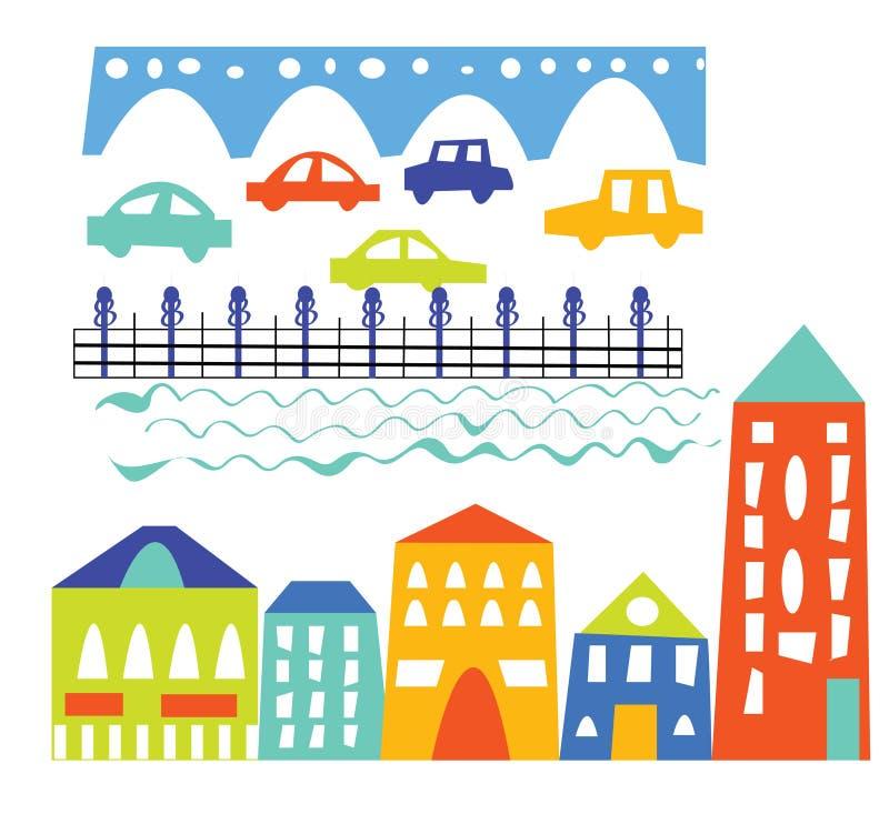 城市元素-房子,汽车,桥梁-动画片 向量例证