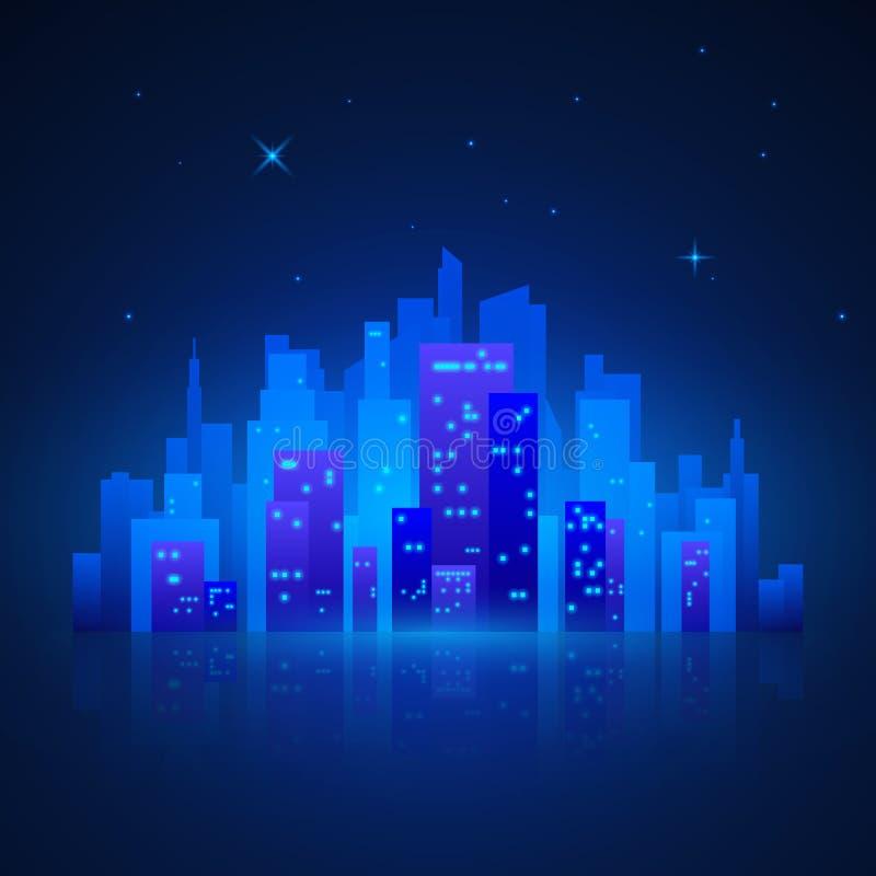 城市克里姆林宫横向晚上被反射的河 未来派夜城市光 在蓝色背景的城市剪影 也corel凹道例证向量 库存例证