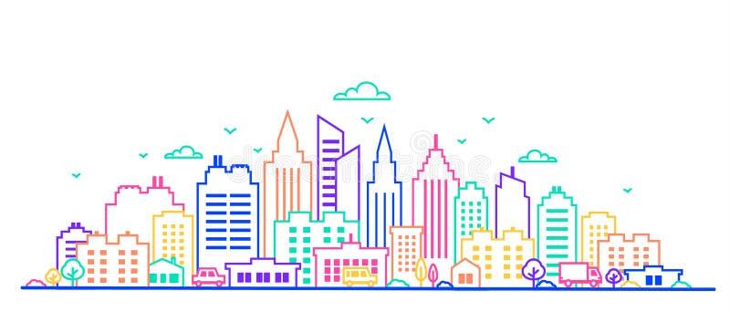 城市克里姆林宫横向晚上被反射的河 稀薄的线在霓虹焕发生动的颜色的城市风景 与高摩天大楼的街市风景 全景 皇族释放例证