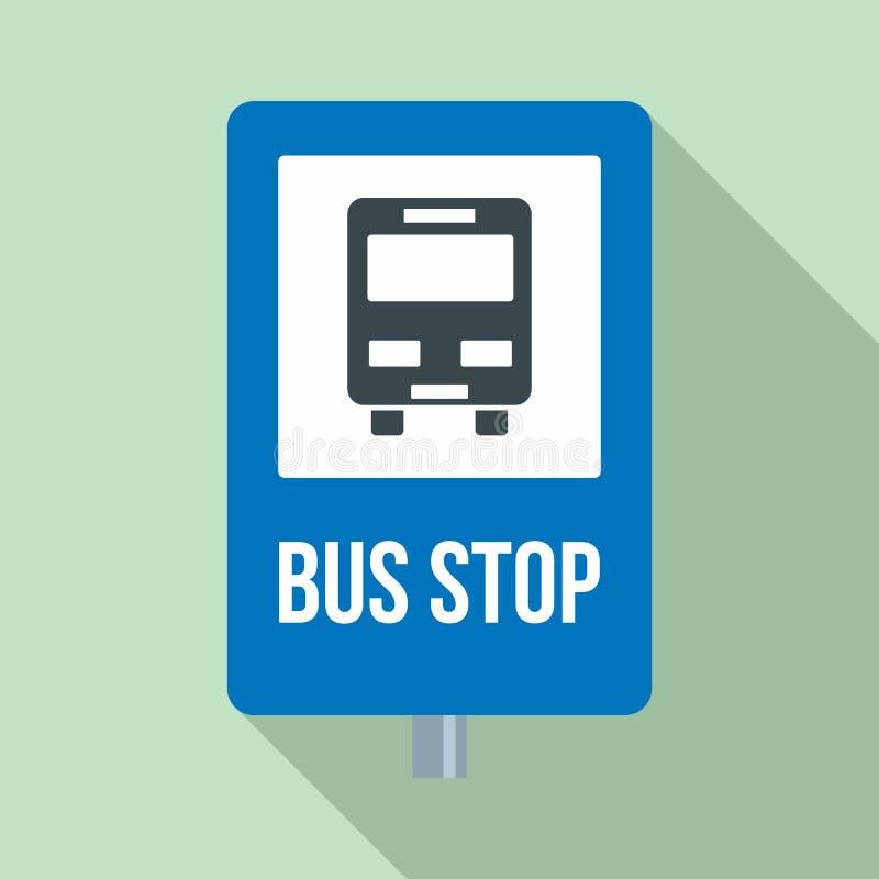 城市公交车站标志象,平的样式 库存例证